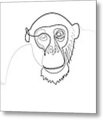 Oneline Monkey Metal Print