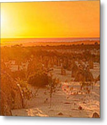 Panoramic Photo Of Sunset At The Pinnacles Metal Print by Yew Kwang
