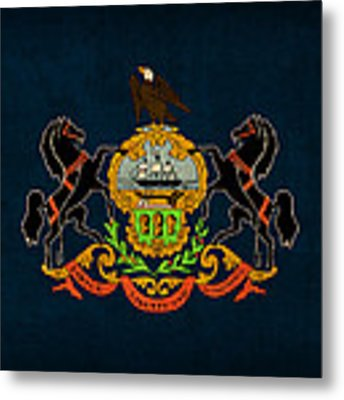 Pennsylvania State Flag Art On Worn Canvas Metal Print by Design Turnpike