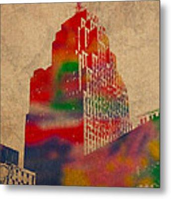 Penobscot Building Iconic Buildings Of Detroit Watercolor On Worn Canvas Series Number 5 Metal Print