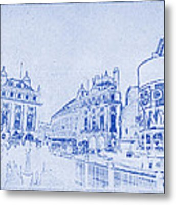 Piccadilly Circus Blueprint Metal Print
