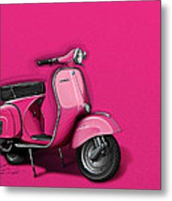 Pink Vespa Metal Print by Etienne Carignan