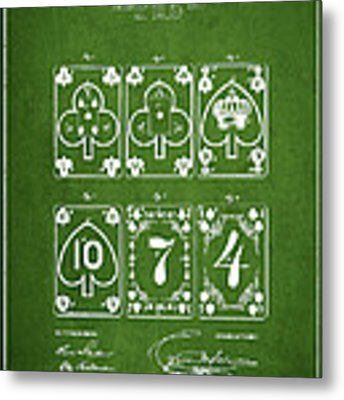 Playing Cards  Patent Drawing From 1877 - Green Metal Print by Aged Pixel