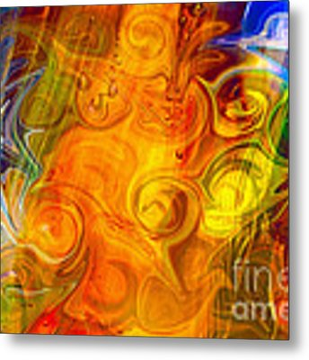 Playing With Bubbles Textured Abstract Artwork By Omaste Witkows Metal Print by Omaste Witkowski