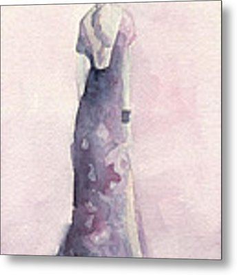 Purple And Pink Evening Dress Watecolor Fashion Illustration Metal Print by Beverly Brown