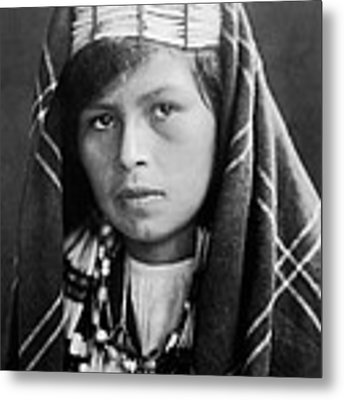 Quinault Indian Woman Circa 1913 Metal Print by Aged Pixel