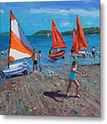 Red And White Sails Metal Print by Andrew Macara