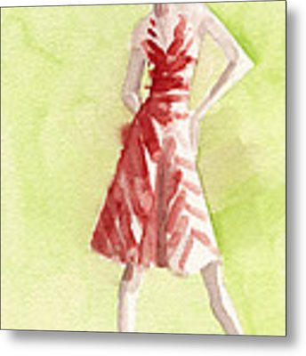 Red And White Striped Dress Fashion Illustration Art Print Metal Print by Beverly Brown