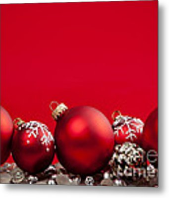 Red Christmas Baubles And Decorations Metal Print