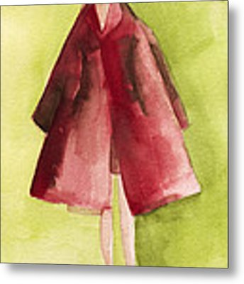 Red Coat - Watercolor Fashion Illustration Metal Print by Beverly Brown