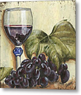 Red Wine And Grape Leaf Metal Print