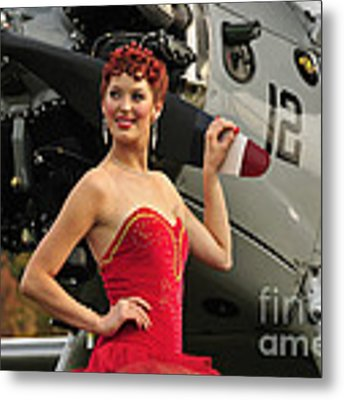 Redhead Pin-up Girl In 1940s Style Metal Print by Christian Kieffer