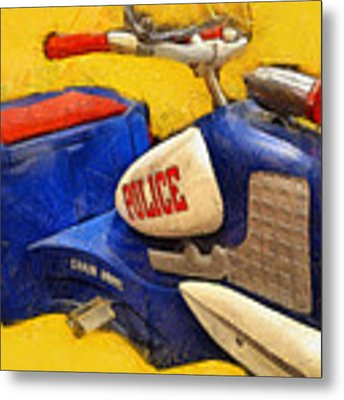 Retro Police Tricycle Metal Print