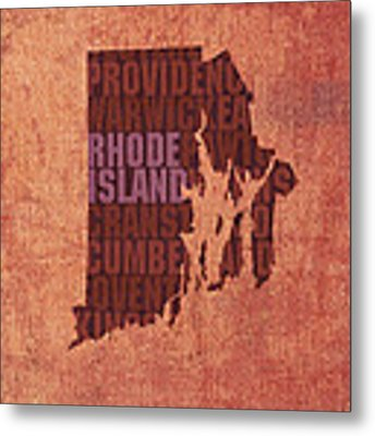 Rhode Island Word Art State Map On Canvas Metal Print by Design Turnpike