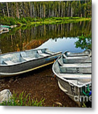 Row Boats Lining A Lake In Mammoth Lakes California Metal Print