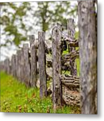 Rustic Home Made Split Rail Fence In The Mountains Of North Caro Metal Print by Alex Grichenko