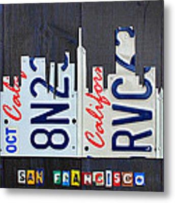 San Francisco California Skyline License Plate Art Metal Print