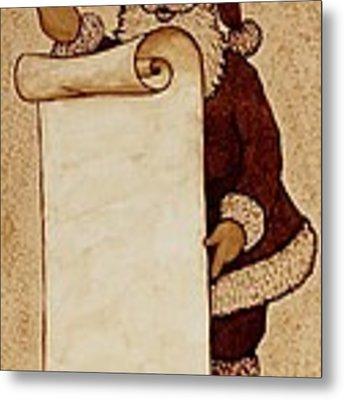 Santa Claus Wishlist Original Coffee Painting Metal Print
