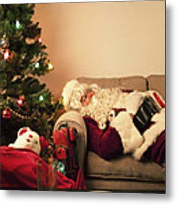 Santa Takes A Nap Metal Print