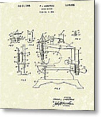 Sewing Machine 1936 Patent Art Metal Print by Prior Art Design