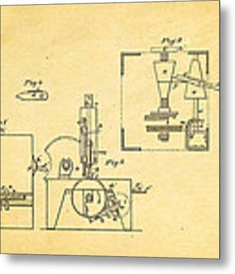 Singer Sewing Machine Patent Art 1855 Metal Print by Ian Monk