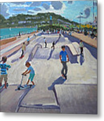 Skateboaders  Teignmouth Metal Print