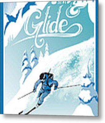 Slide And Glide Retro Ski Poster Metal Print
