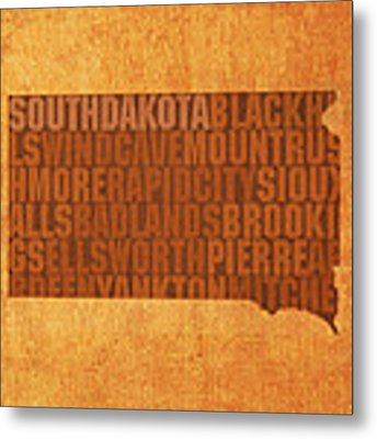 South Dakota Word Art State Map On Canvas Metal Print