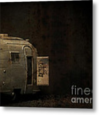 Spooky Airstream Campsite Metal Print by Edward Fielding
