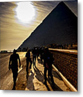 Standing Before The Great Pyramid In Egypt Metal Print by Mark E Tisdale