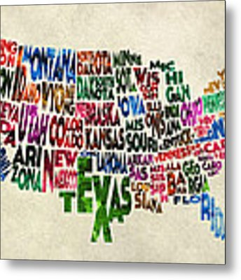 States Of United States Typographic Map - Parchment Style Metal Print by Inspirowl Design