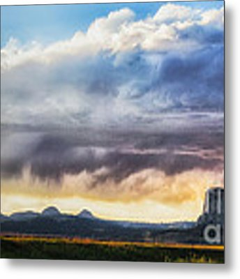 Storm Clouds Over Devils Tower Metal Print by Sophie Doell