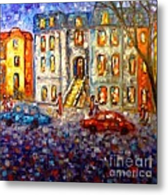 Street In Montreal At Dusk Metal Print by Cristina Stefan