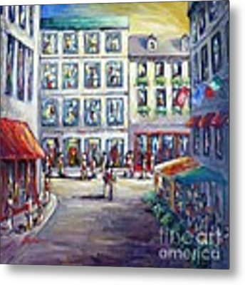 Street In Old Montreal Metal Print by Cristina Stefan