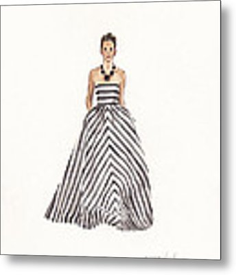 Striped Glamour Metal Print by Jazmin Angeles