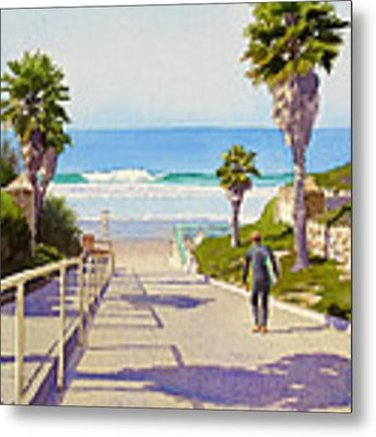 Surfer Dude At Fletcher Cove Metal Print by Mary Helmreich