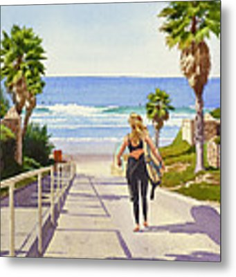 Surfer Girl At Fletcher Cove Metal Print by Mary Helmreich