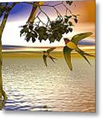 Swallows At Sunset Metal Print by Sandra Bauser Digital Art