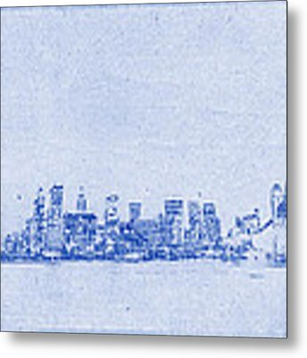 Sydney Skyline Blueprint Metal Print