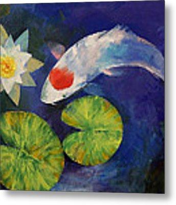 Tancho Koi And Water Lily Metal Print
