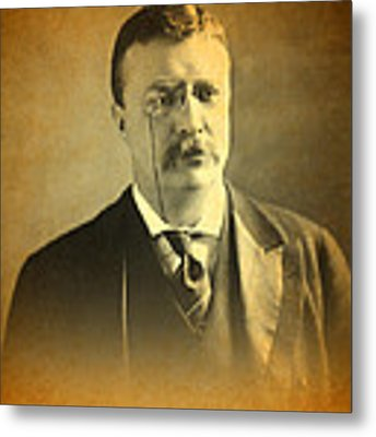 Theodore Teddy Roosevelt Portrait And Signature Metal Print by Design Turnpike