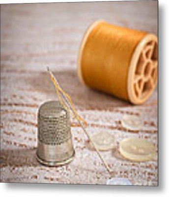 Threaded Needle Metal Print by Amanda Elwell