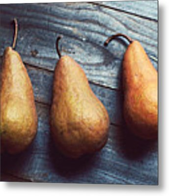 Three Gold Pears Metal Print