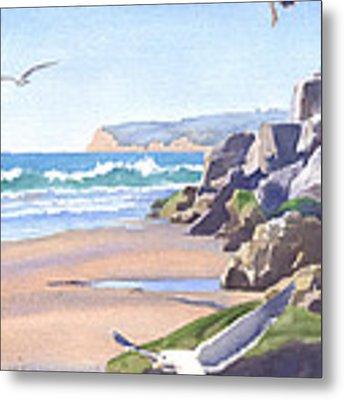 Three Seagulls At Coronado Beach Metal Print by Mary Helmreich