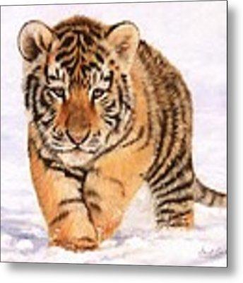 Tiger Cub In Snow Painting Metal Print by David Stribbling