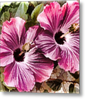 Twin Hibiscus Metal Print by Donna Proctor