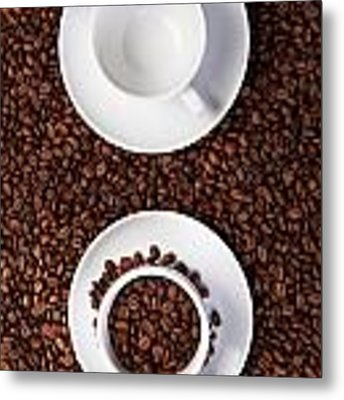 Two Cup With Coffee Beans Metal Print by Raimond Klavins