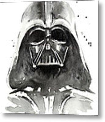 Darth Vader Watercolor Metal Print by Olga Shvartsur
