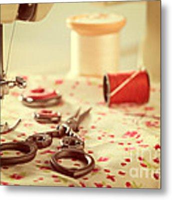 Vintage Sewing Items Metal Print by Amanda Elwell