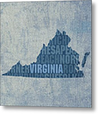 Virginia Word Art State Map On Canvas Metal Print by Design Turnpike